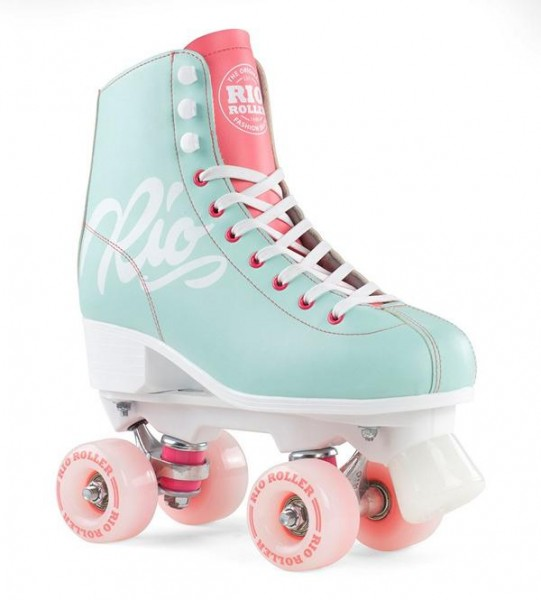 Rio Roller Script Quad Skates Teal/Coral 1